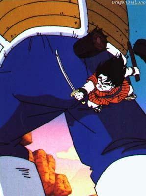 Yajirobe le corta la cola a Vegeta