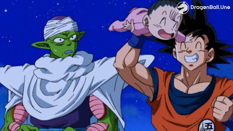 Piccolo y Gokú cuidando a Pan